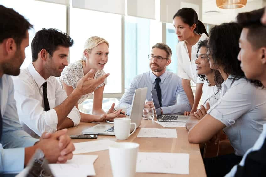 A large team being managed effectively