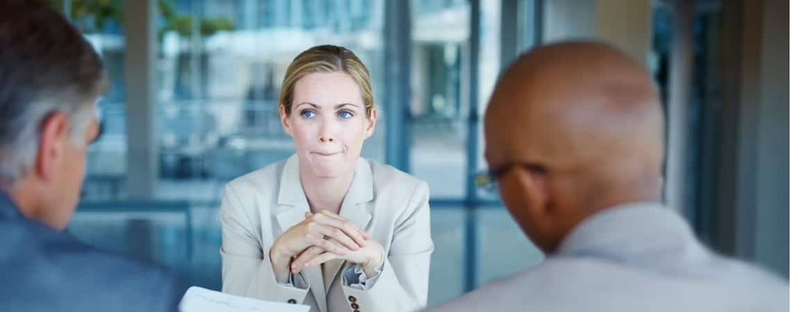 Anxious woman during business interview