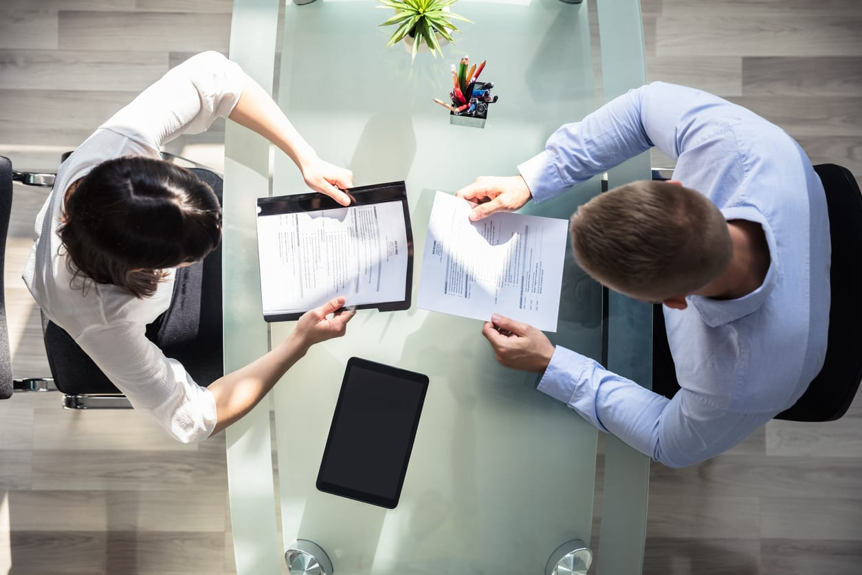 Aerial view of two people in a business meeting