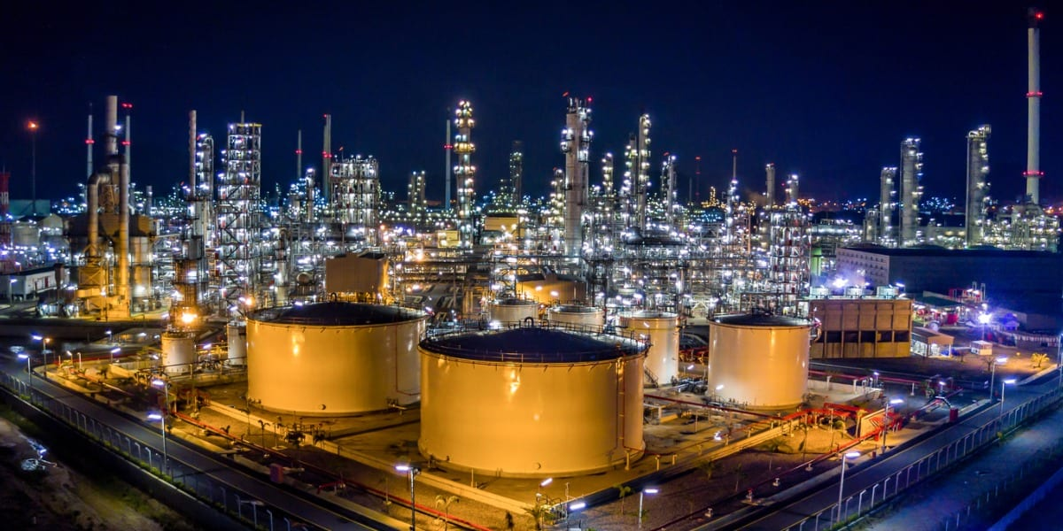 Large oil refinery at night