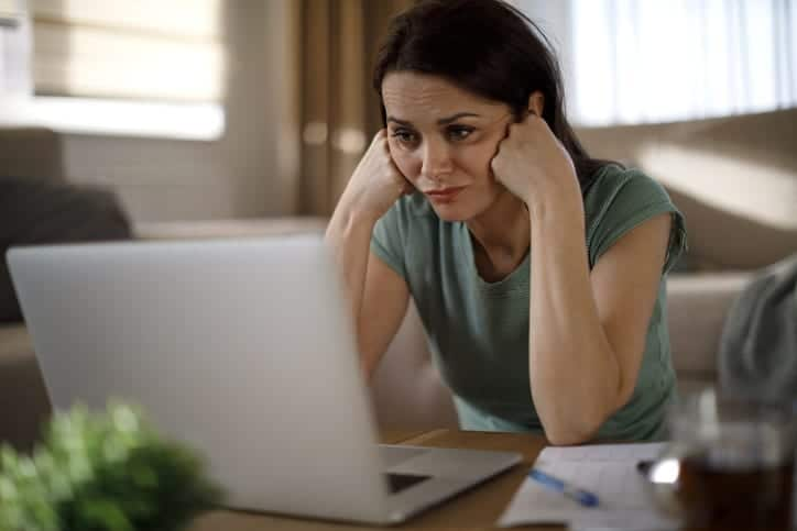 Woman struggling with new technology